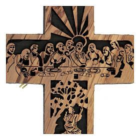 Croix Cène Calvaire bois olivier Bethléem 15x10 cm s2