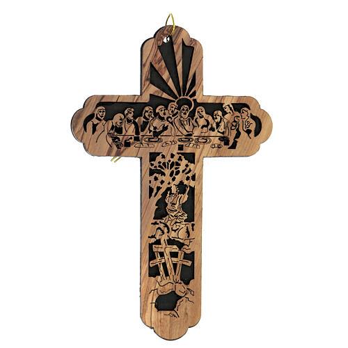 Croix Cène Calvaire bois olivier Bethléem 15x10 cm 1