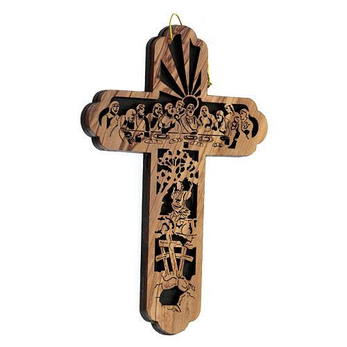 Croix Cène Calvaire bois olivier Bethléem 15x10 cm 3