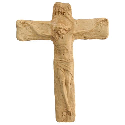 Crucifixo em madeira de lenga esculpido à mão 35x25x5 cm Mato Grosso 1