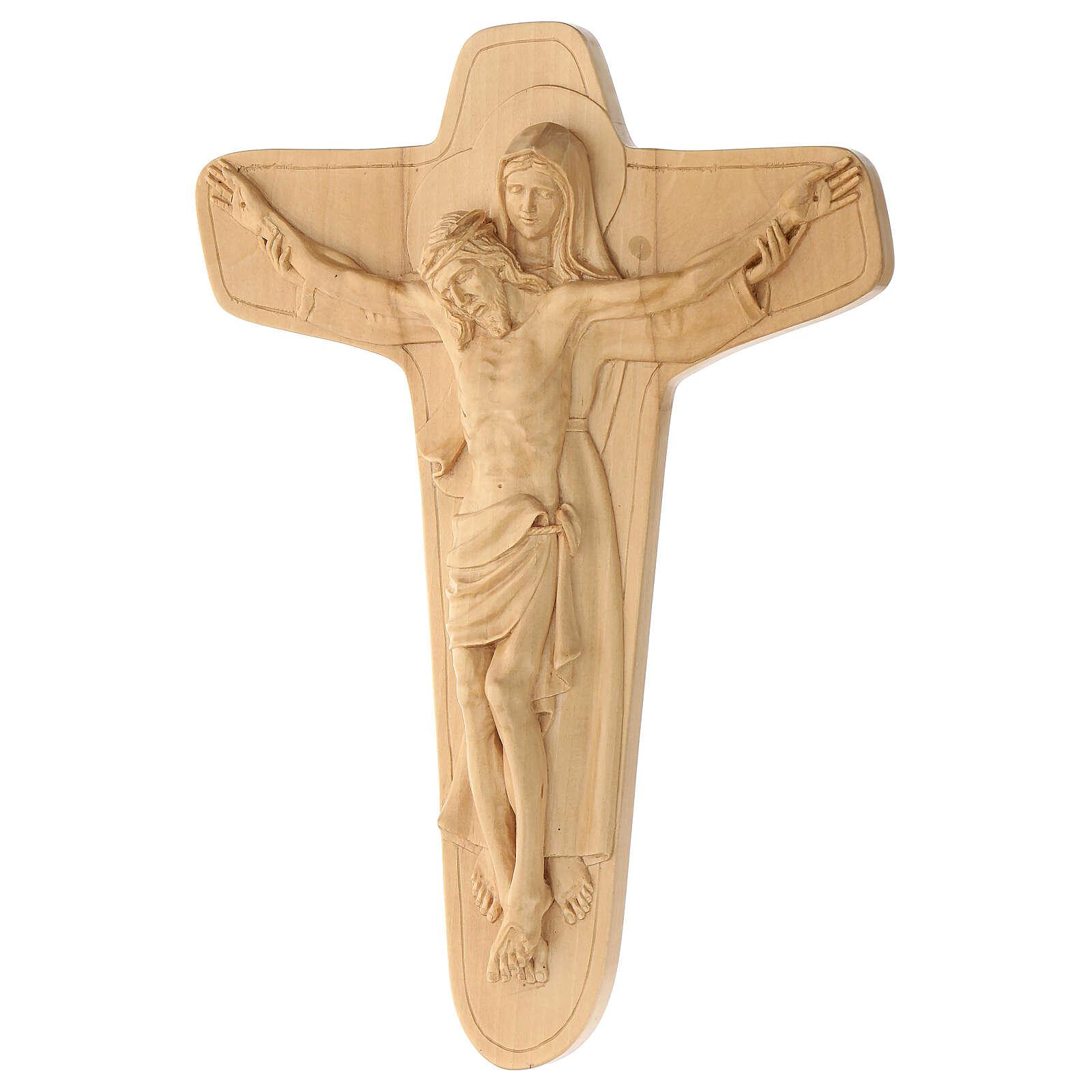 Crucifixo em madeira Virgem suporta Jesus 35x25x5 cm Mato Grosso 4