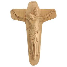 Crucifixo em madeira Virgem suporta Jesus 35x25x5 cm Mato Grosso s1