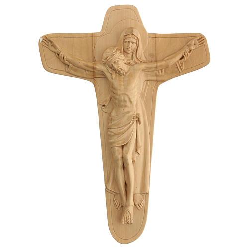 Crucifixo em madeira Virgem suporta Jesus 35x25x5 cm Mato Grosso 1