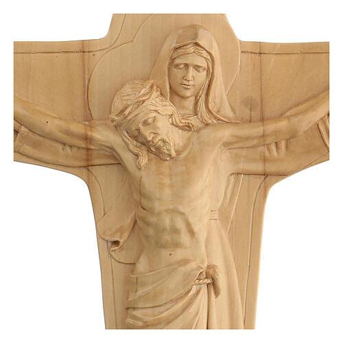 Crucifixo em madeira Virgem suporta Jesus 35x25x5 cm Mato Grosso 2