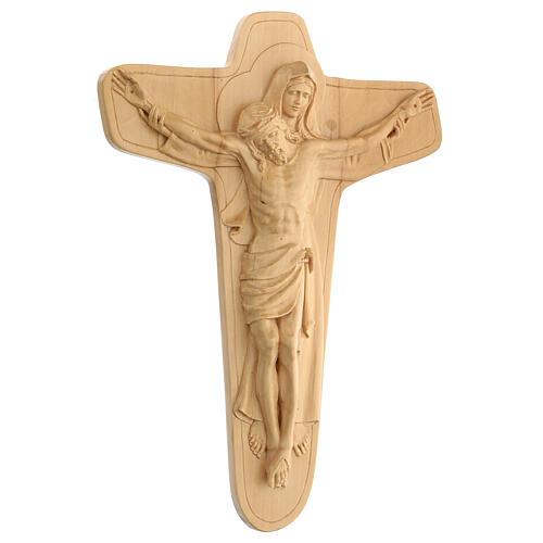 Crucifixo em madeira Virgem suporta Jesus 35x25x5 cm Mato Grosso 3