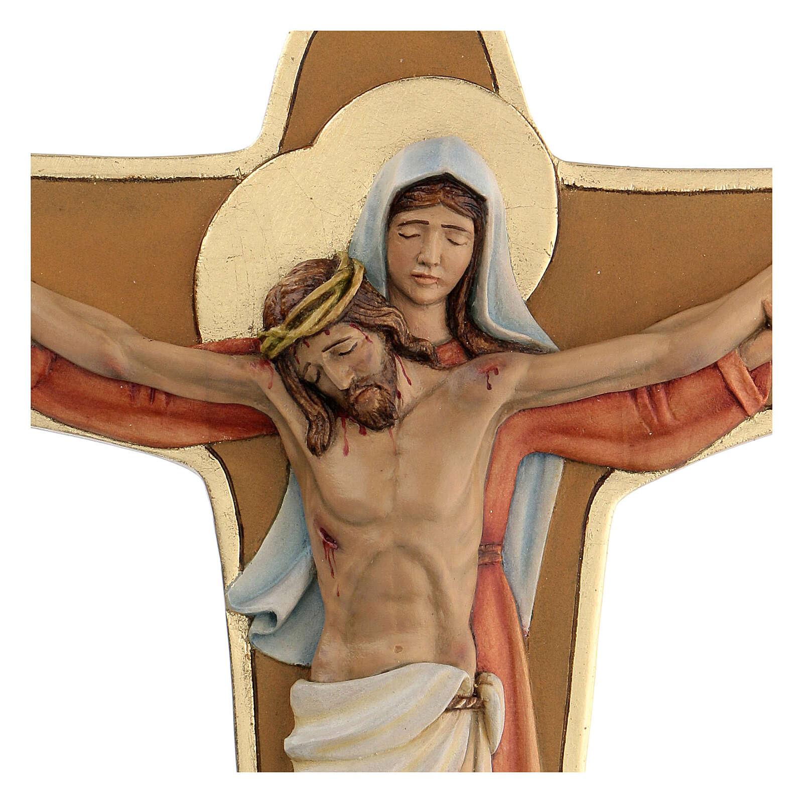 Crocifisso Madonna sostiene Cristo legno colori olio 35x25x5 cm Mato Grosso 4