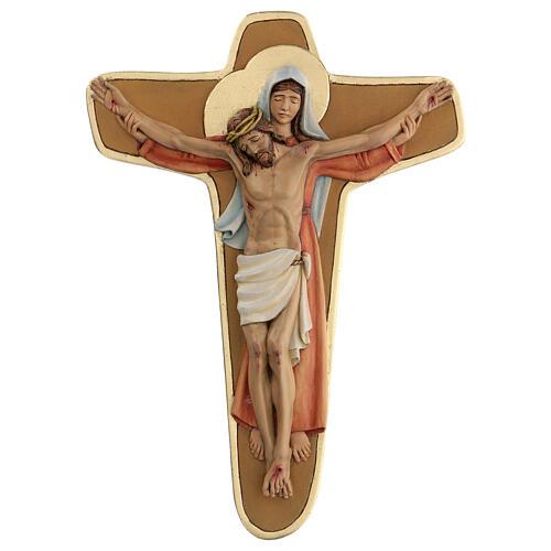 Crocifisso Madonna sostiene Cristo legno colori olio 35x25x5 cm Mato Grosso 1