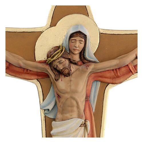 Crocifisso Madonna sostiene Cristo legno colori olio 35x25x5 cm Mato Grosso 2