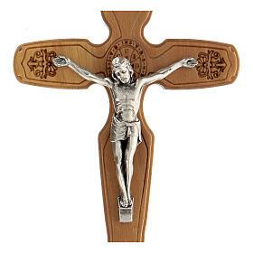 Crocifisso decori incisi San Benedetto cristo metallo 13 cm