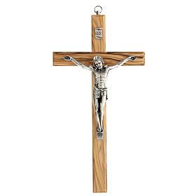 Crucifijo Cristo metal madera olivo 25 cm INRI s1