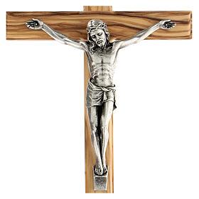 Crucifijo Cristo metal madera olivo 25 cm INRI s2