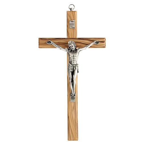 Crucifijo Cristo metal madera olivo 25 cm INRI 1