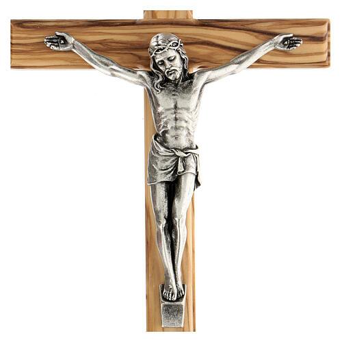Crucifijo Cristo metal madera olivo 25 cm INRI 2