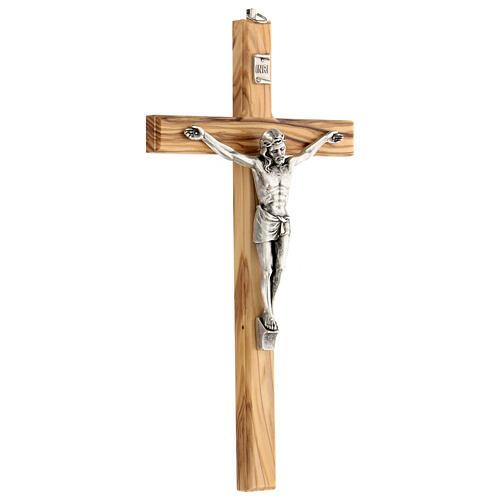 Crucifijo Cristo metal madera olivo 25 cm INRI 3