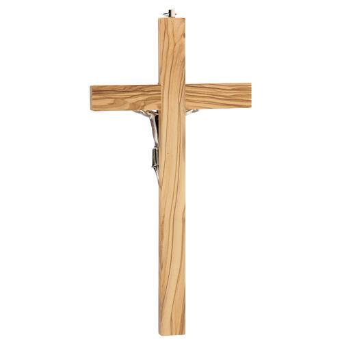 Crucifijo Cristo metal madera olivo 25 cm INRI 4