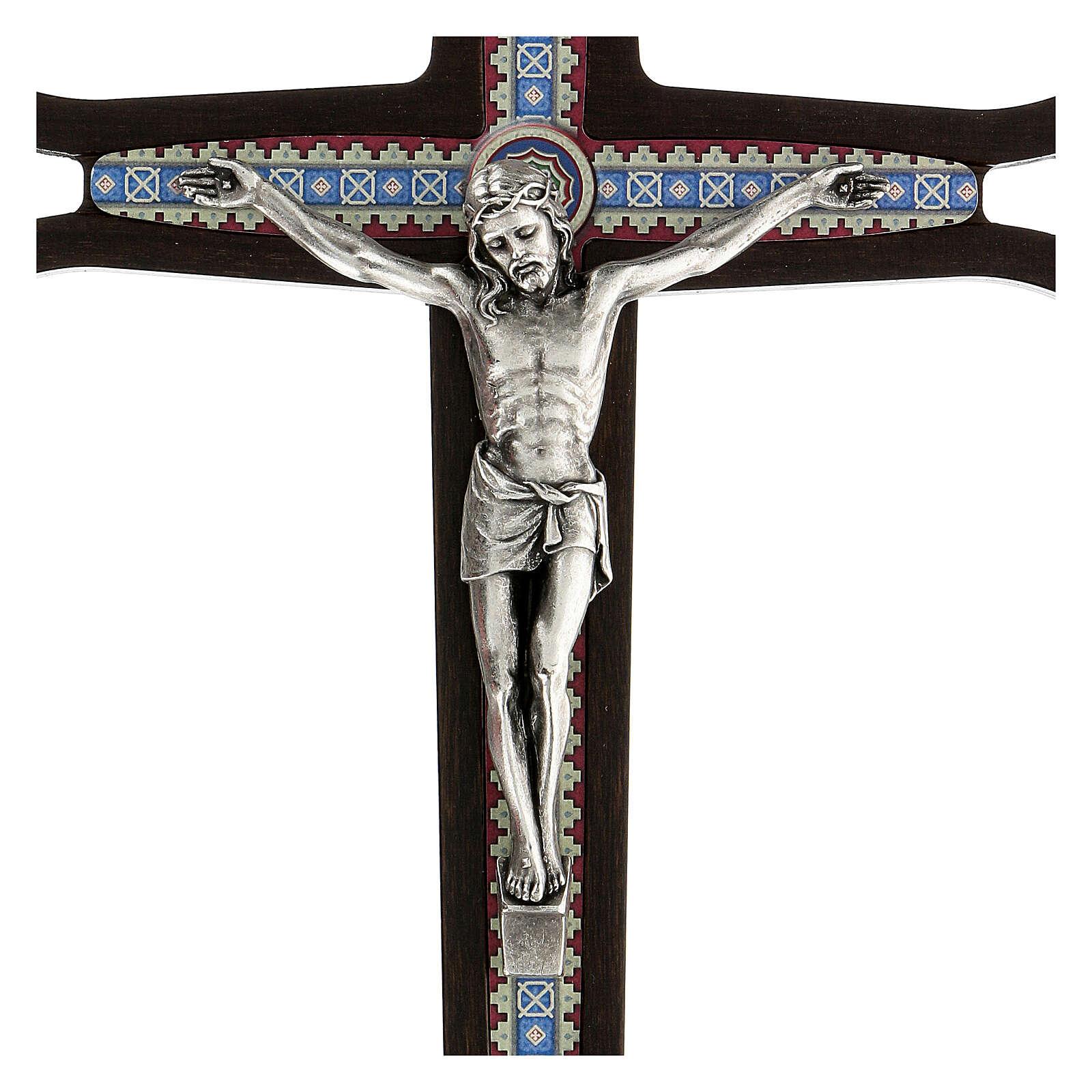 Crucifijo madera oscura detalles coloreados Cristo meral 30 cm 4