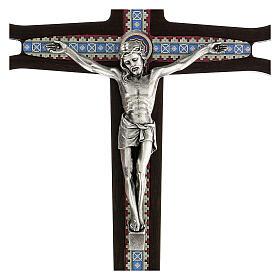 Crucifijo madera oscura detalles coloreados Cristo meral 30 cm s2