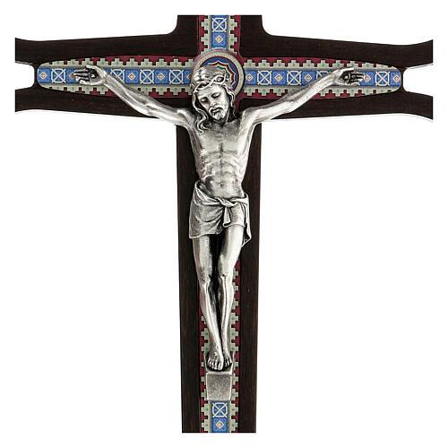 Crucifijo madera oscura detalles coloreados Cristo meral 30 cm 2