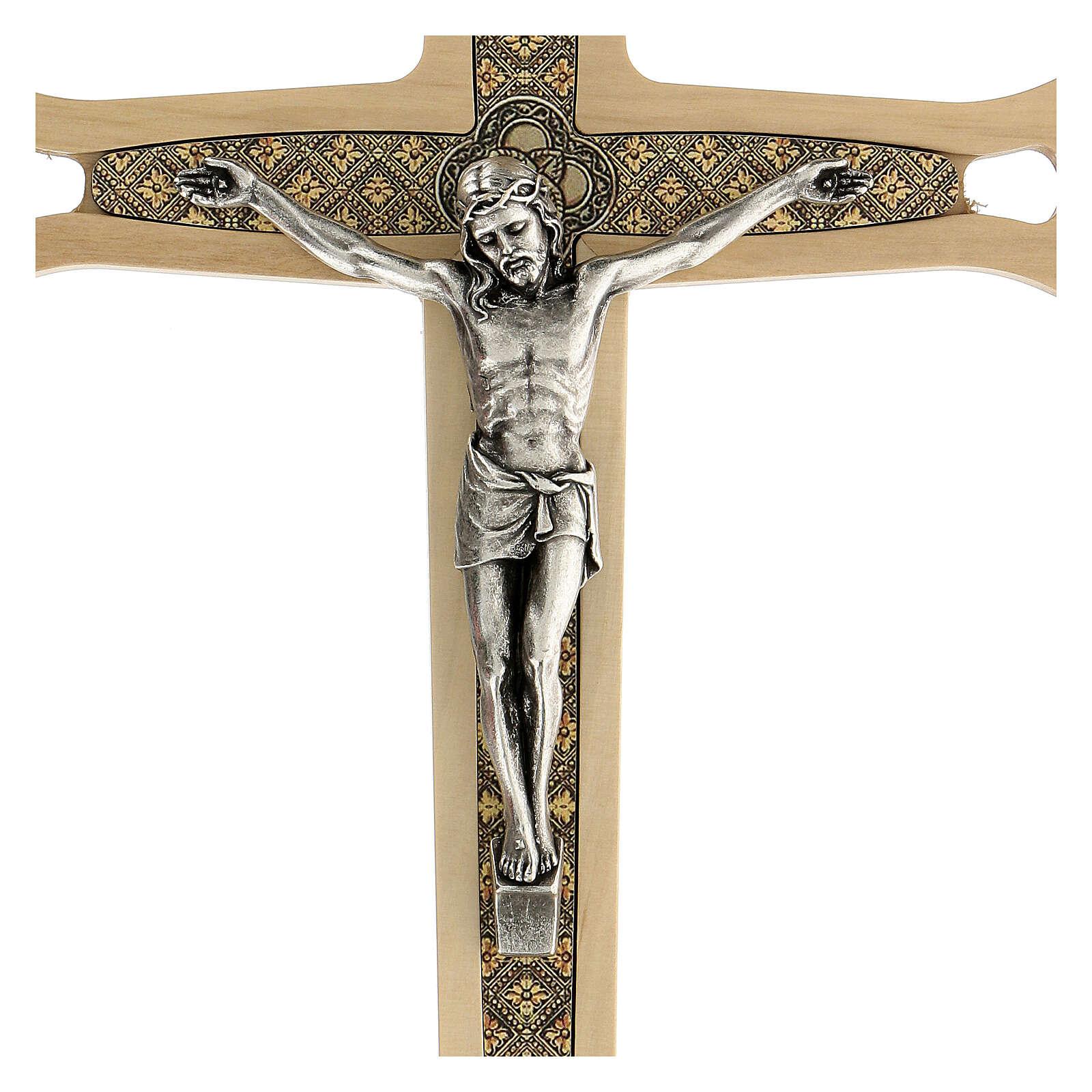Crucifijo madera clara detalles coloreados Cristo metal 30 cm 4