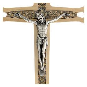 Crucifijo madera clara detalles coloreados Cristo metal 30 cm s2