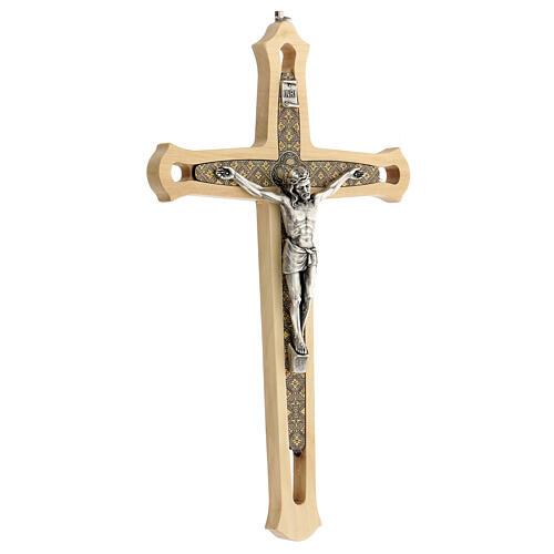 Crucifijo madera clara detalles coloreados Cristo metal 30 cm 3