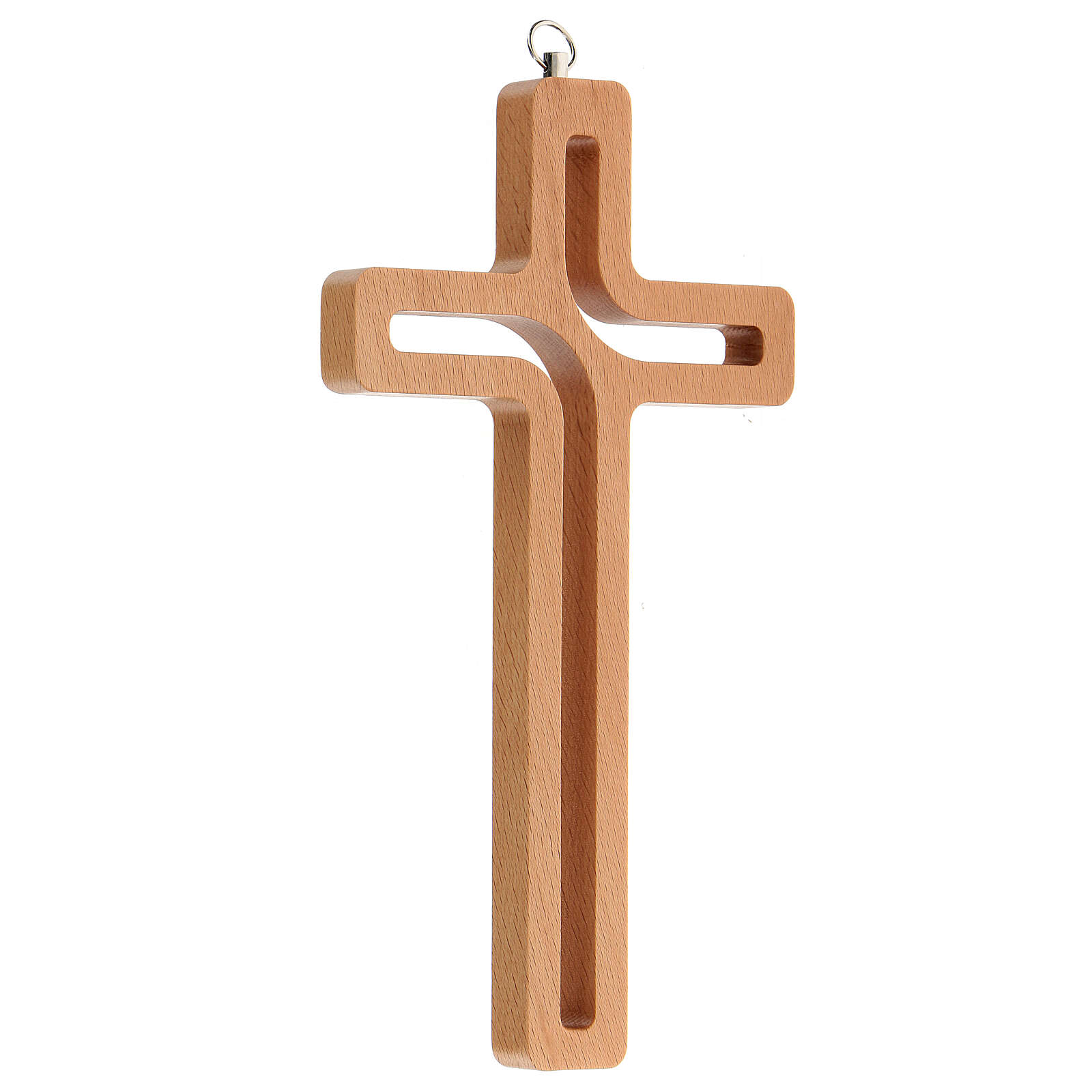 Crucifijo perforado madera colgado 20 cm 4