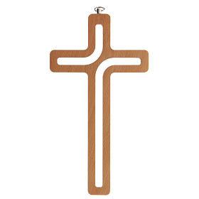 Crucifijo perforado madera colgado 20 cm s1