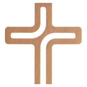 Crucifijo perforado madera colgado 20 cm s2