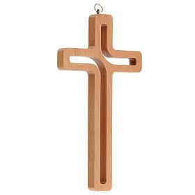 Crucifijo perforado madera colgado 20 cm s3