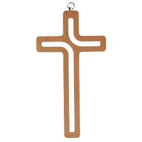 Crucifijo perforado madera colgado 20 cm s4