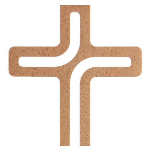 Crucifijo perforado madera colgado 20 cm 2