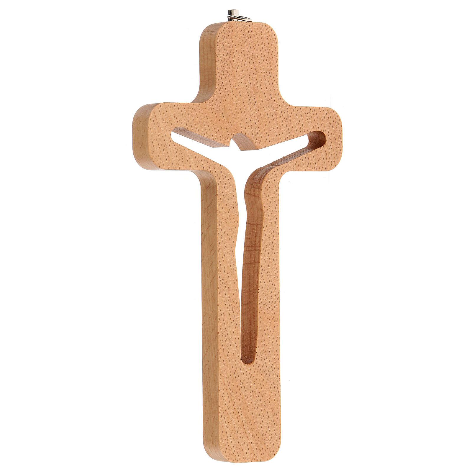 Crucifijo perforado Cristo madera 20 cm 4