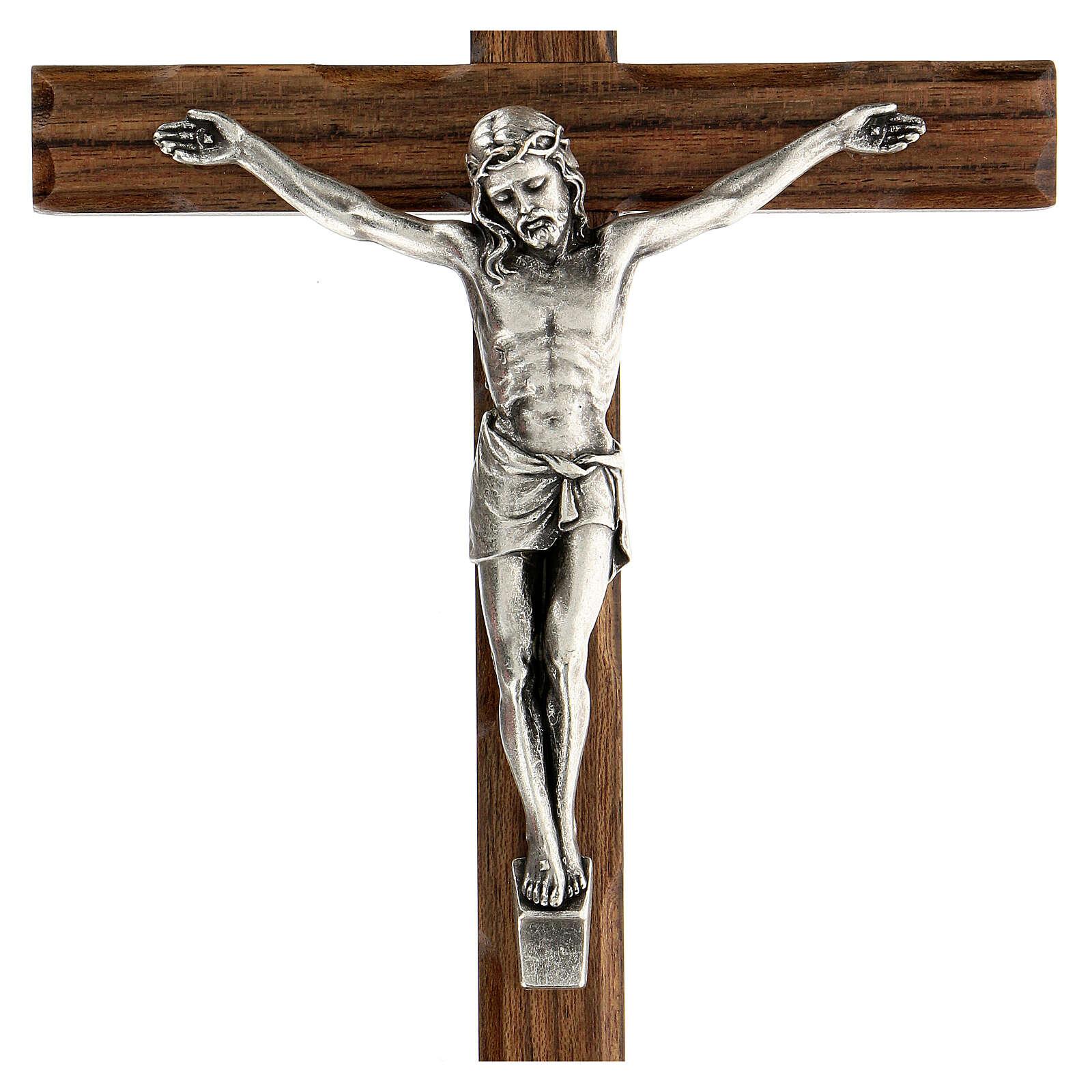 Crucifijo madera nogal motivo inciso 25 cm 4