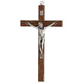 Crucifijo madera nogal motivo inciso 25 cm s1