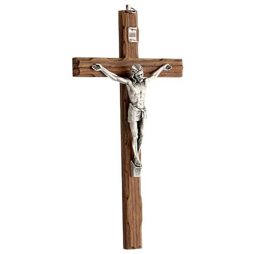 Crucifijo madera nogal motivo inciso 25 cm 3