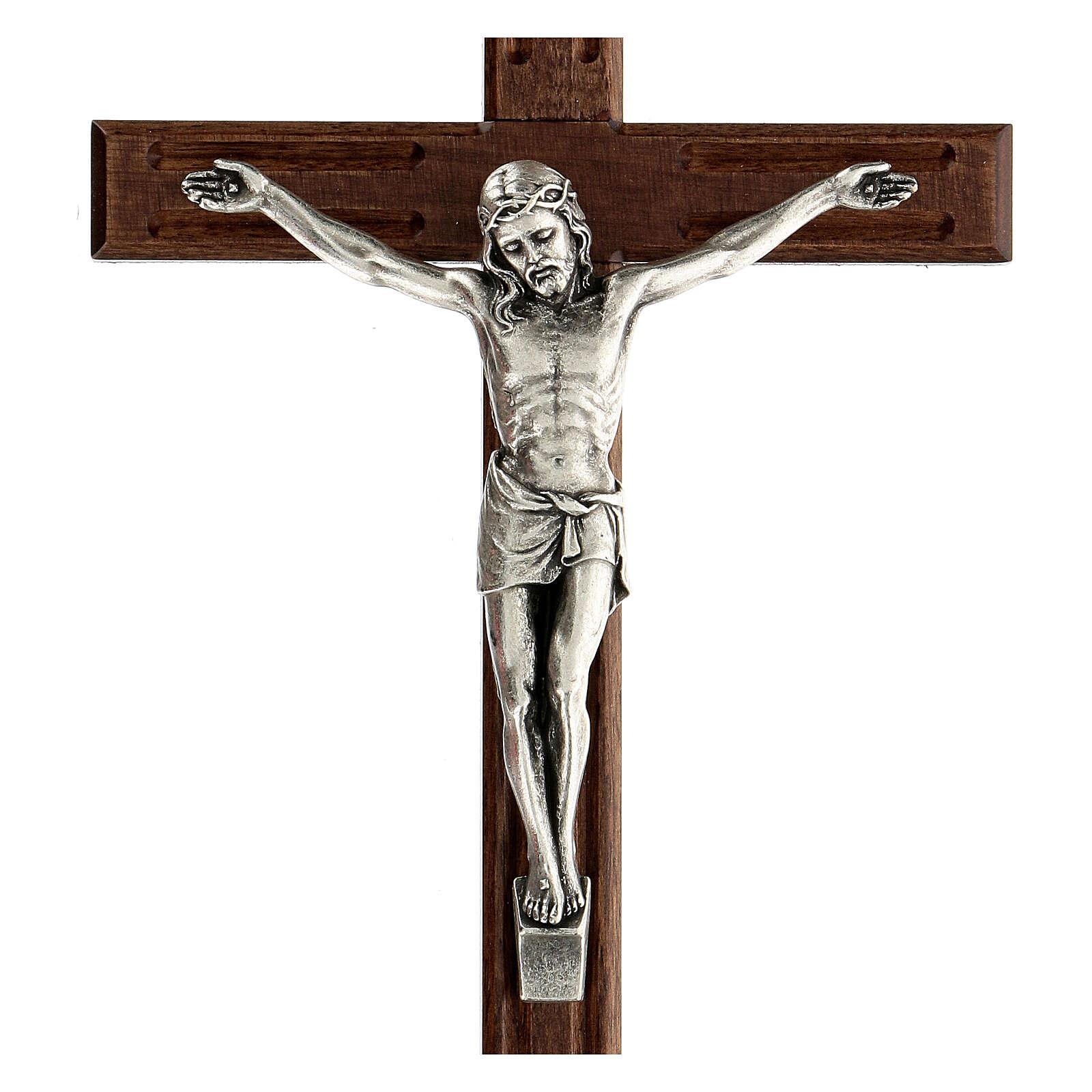 Crucifijo perforado madera Cristo plateado 25 cm 4