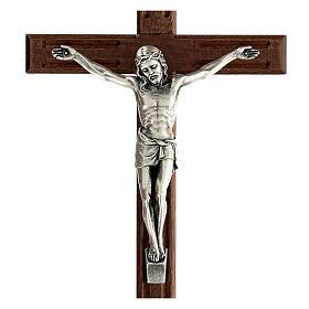 Crucifijo perforado madera Cristo plateado 25 cm s2