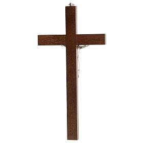 Crucifijo perforado madera Cristo plateado 25 cm s4