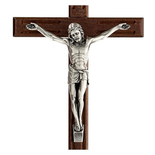 Crucifijo perforado madera Cristo plateado 25 cm 2