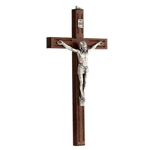 Crucifijo perforado madera Cristo plateado 25 cm 3