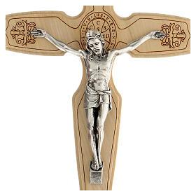 Crocifisso legno ulivo Gesù metallo San Benedetto 21 cm