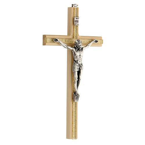 Crucifijo motivo plexiglás detalles dorados 25 cm 3