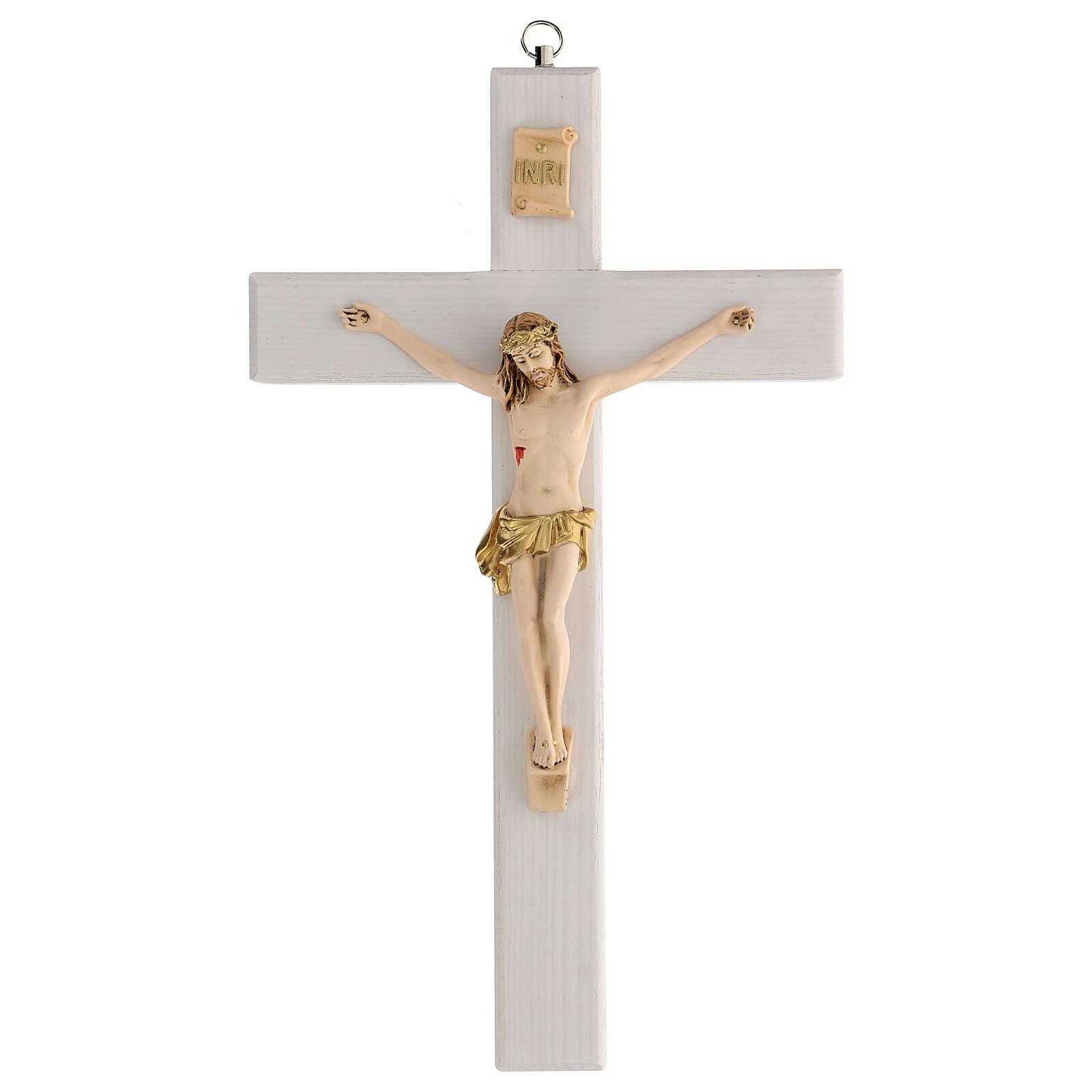 Crucifijo blanco barnizado madera fresno paño dorado 27 cm 4