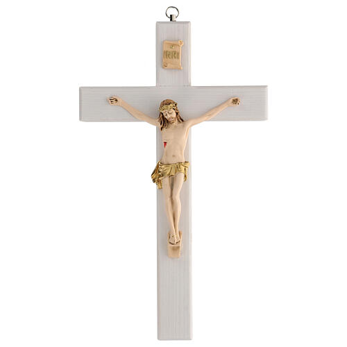 Crucifijo blanco barnizado madera fresno paño dorado 27 cm 1