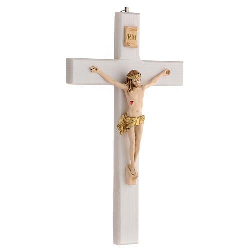 Crucifijo blanco barnizado madera fresno paño dorado 27 cm 3