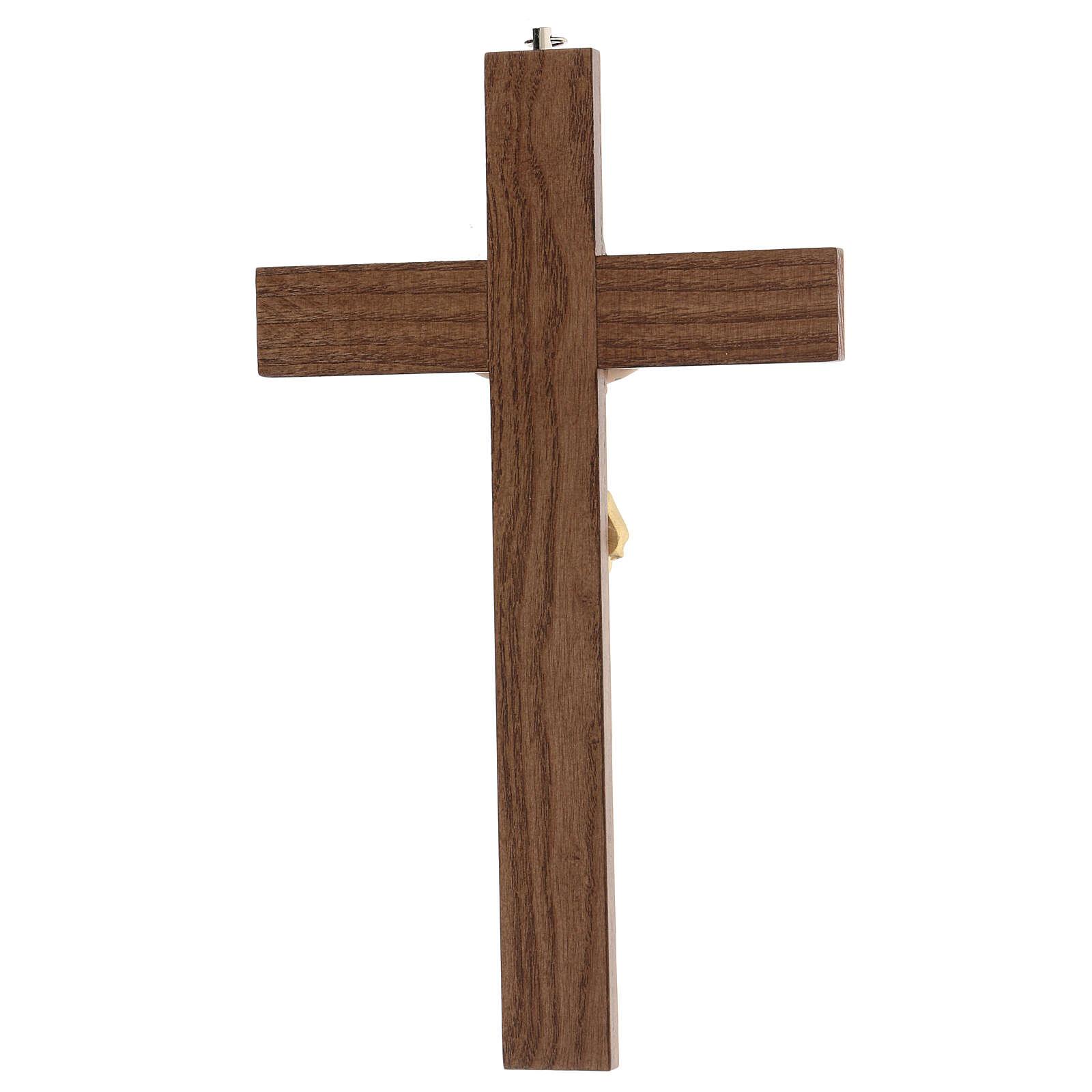 Crucifijo barnizado fresno Cristo corona dorada 27 cm 4