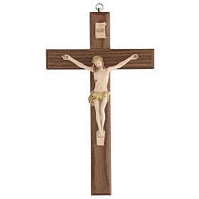 Crucifijo barnizado fresno Cristo corona dorada 27 cm s1