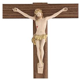 Crucifijo barnizado fresno Cristo corona dorada 27 cm s2