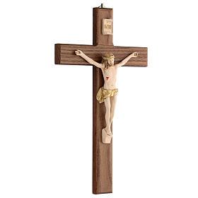 Crucifijo barnizado fresno Cristo corona dorada 27 cm s3
