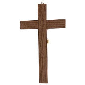 Crucifijo barnizado fresno Cristo corona dorada 27 cm s4